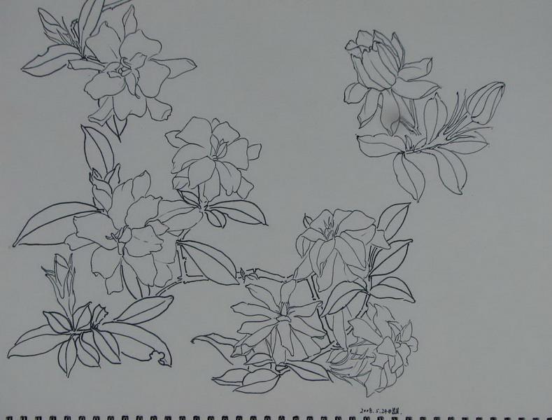 手绘校园风景图铅笔画
