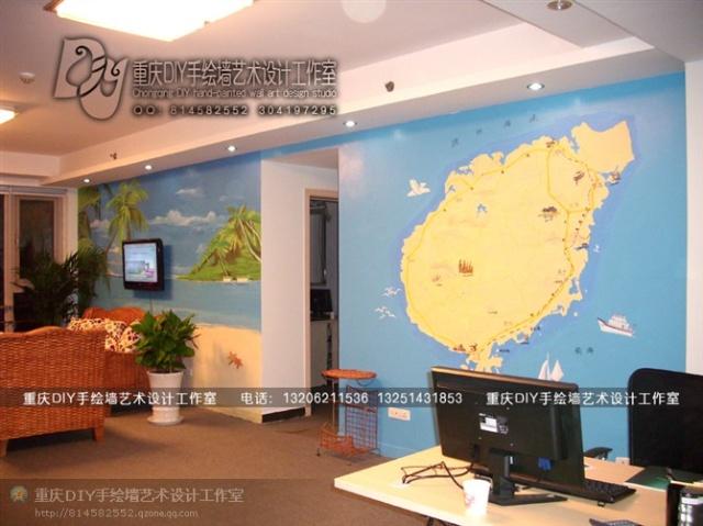 【重庆手绘墙-diy墙绘工作室】海南地产公司海南地图