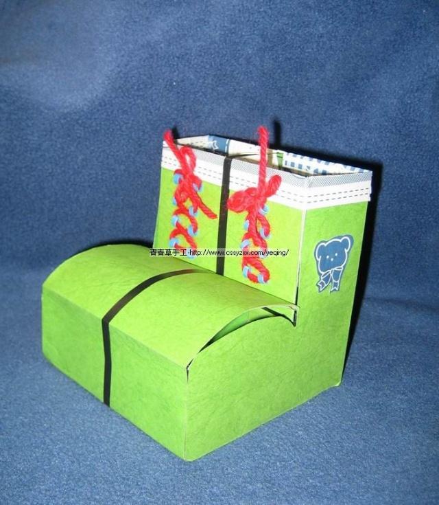 手工卡纸鞋子制作过程