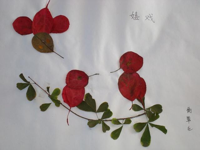 用树叶粘的孔雀 如何用树叶做孔雀 树叶贴画孔雀