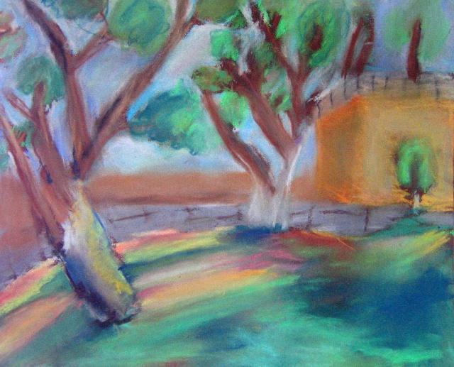 写生6 树 色粉画