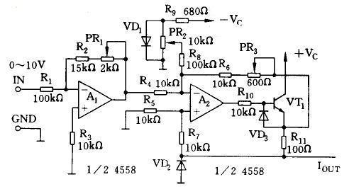 因中运放a2为恒流输出电路,电流转换为电压用电阻r11,其上电压为0.