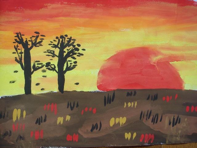 日落风景画水粉