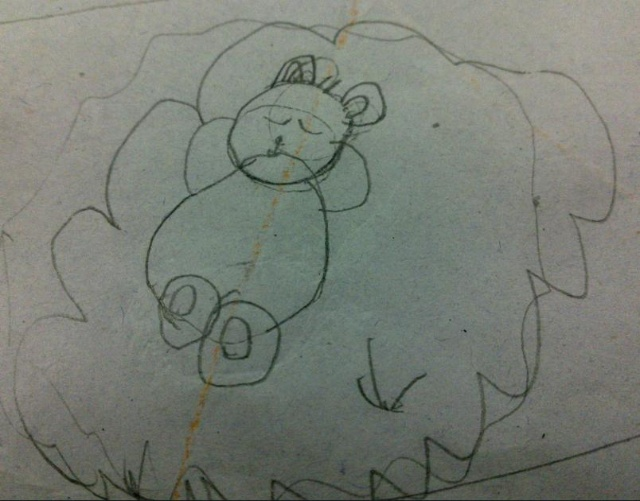 简笔画——小家伙小学一年级上学期作品集-莲在心中-一年级美术简笔画