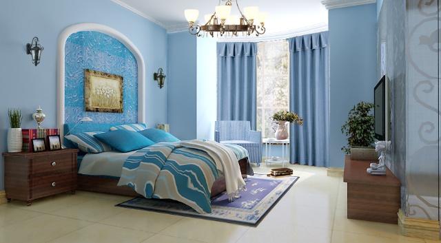 蓝色窗帘搭配卧室图片